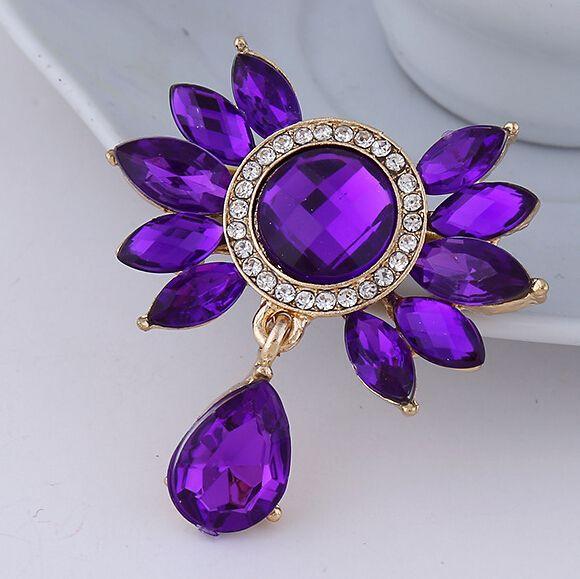 Fashion Bunga Bouquet Bros Perhiasan Untuk Pernikahan Korea Lucu Ungu Biru Kristal Berlian Imitasi Pengantin Bros Pins Wanita Bros