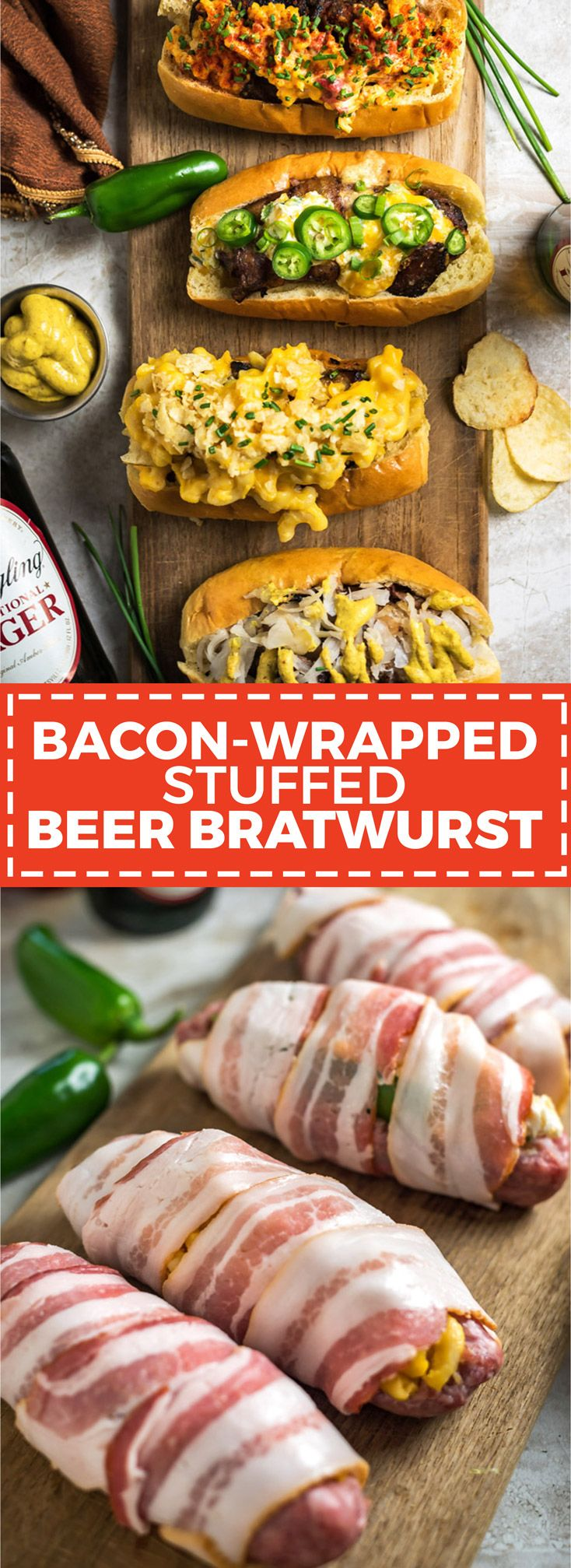 Bacon-Wrapped Stuffed Beer Bratwurst. Don't just put the toppings on your beer brats, put them *in* them, too! Stuff 'em, wrap 'em in bacon, and grill 'em until crisp. Click through for 4 filling ideas including mac & cheese, pimento cheese, sauerkraut, and jalapeño popper. | AD Smithfield BeerBrats | hostthetoast.com