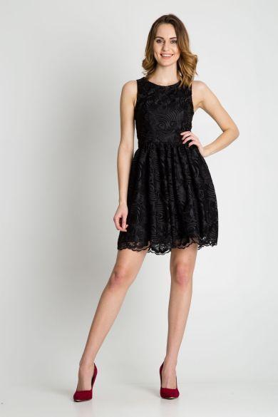4b09e80e62 Czarna rozkloszowana sukienka wieczorowa