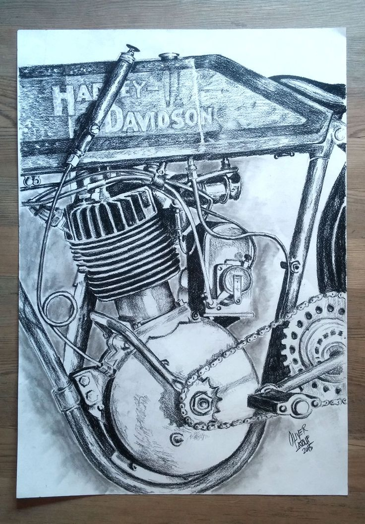 Vintage Harley Davidson engine artwork. Charcoal onto A2 size paper.