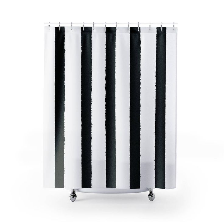 White And Black Shower Curtain Striped Modern