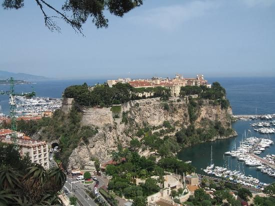 Distant view of the price's palace in Monaco: