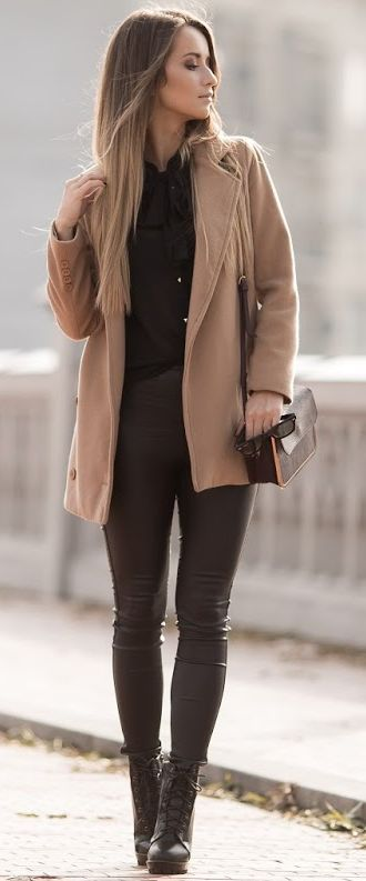 Styloly Camel On Black Fall Streetstyle Inspo #coupon code nicesup123 gets 25% off at  www.Skinception.com and www.leadingedgehealth.com