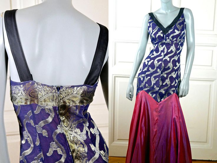 European Vintage Evening Gown, Purple Silver Black Dark Rosy Pink Sleeveless Silk Evening Dress, Formal Party Dress: Size 8 US, Size 12 UK by YouLookAmazing on Etsy