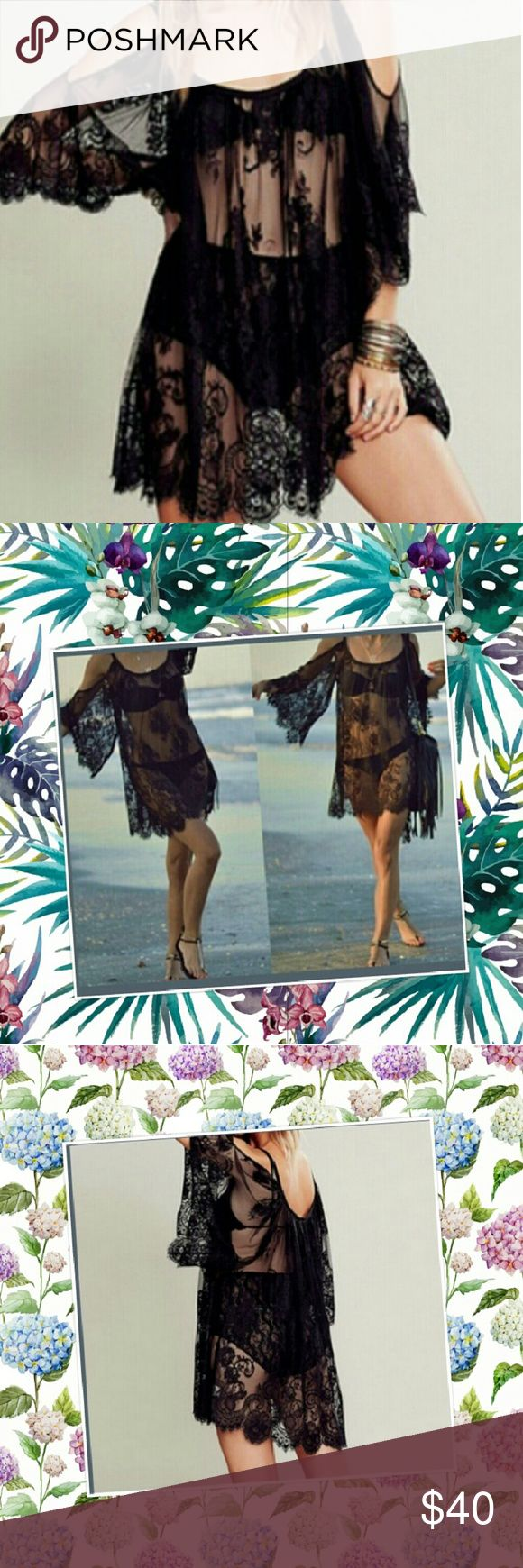 Lace Boho Sexy Swimsuit Cover up All lace  beautiful sexy black cover up seasidegirl Swim Coverups