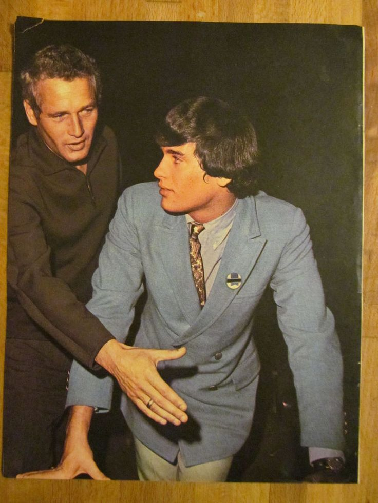 Paul Newman and son Scott, Full Page Vintage Pinup