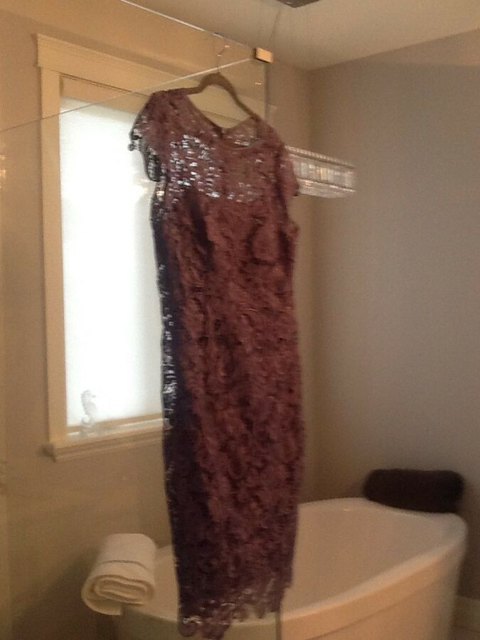 JS collections Slate Blue Lace Mother Of The Bride Dress Size 12