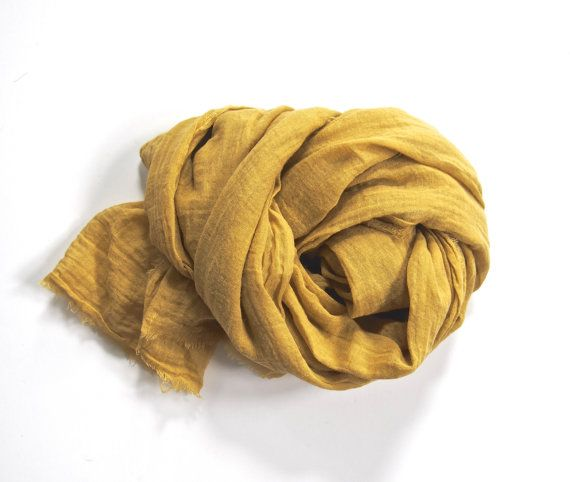 Mustard Gold Scarf Lightweight Cotton Gauze by TheChicArtisan