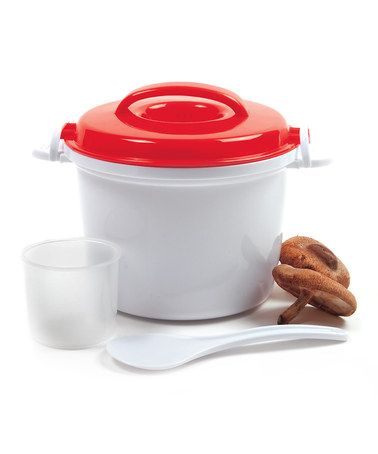 Red Microwave Rice Cooker #zulily #zulilyfinds. Rice cookers are so handy for rewarming anything in a pinch.