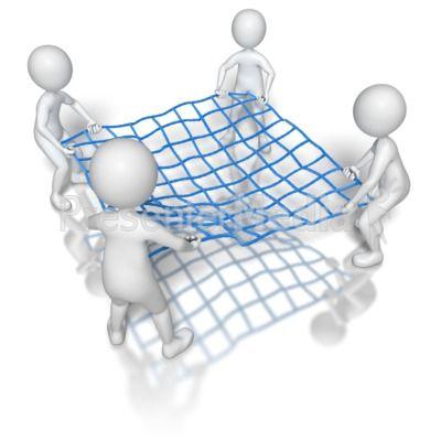 Stick Figures Holding Net PowerPoint Clip Art