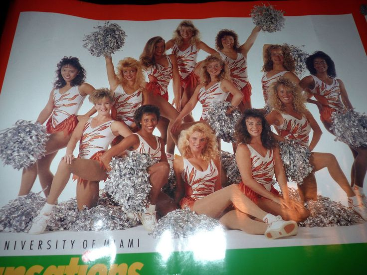 University of Miami Hurricanes Canes UM Football Miami Cheerleaders Vtg Poster #UMCanes