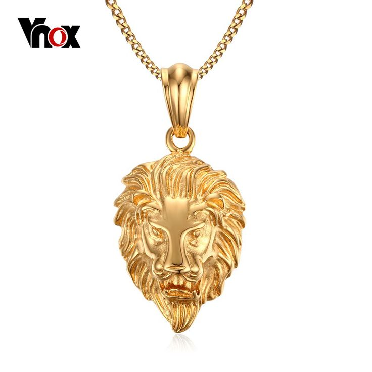 Vnox Lion Head Pendant Necklace  Gold Plated Men's Jewelry Stainless Steel Metal