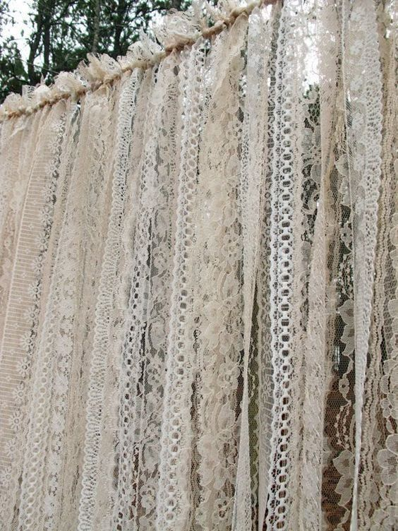 Lace Wedding Backdrop Curtains Ivory Lace... But what about burgundy mixed in?!