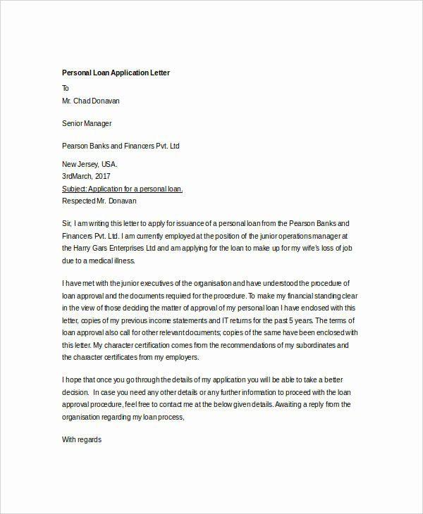 Personal Loan Letter Template Elegant 27 Free Application Letter Templates In 2020 Letter Templates Printable Letter Templates Application Letter Template