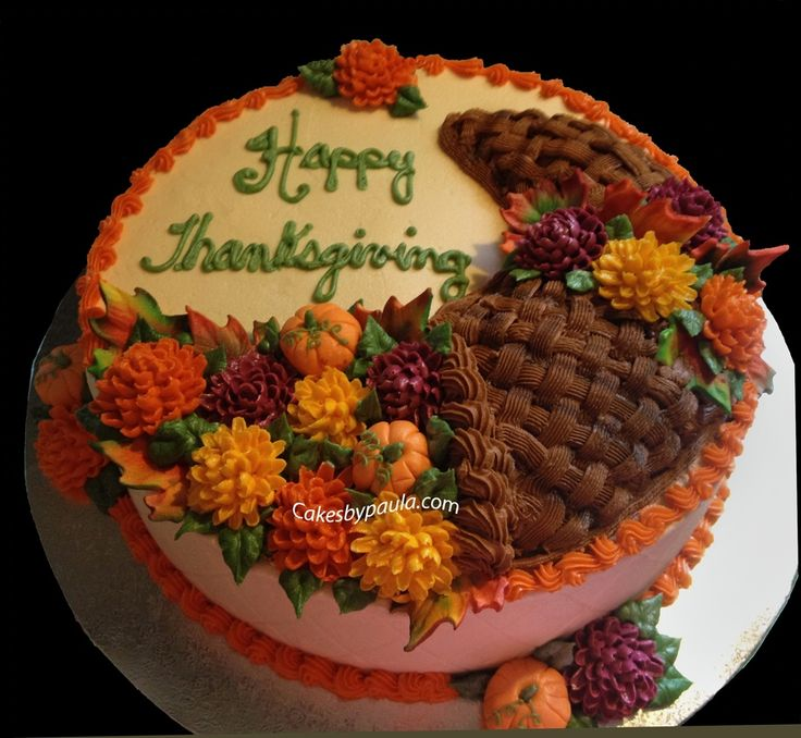 Cake Decoration Thanksgiving : iced in buttercream with fondant pumpkins and gumpaste ...