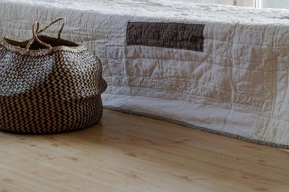 Wabi Sabi Linen Quilt Bedspread Linen Pre-Washed Off White