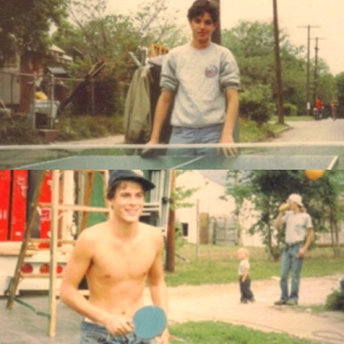 A very hot and shirtless Rob Lowe playing ping pong against a very adorable Ralph Macchio on the set of The Outsiders.
