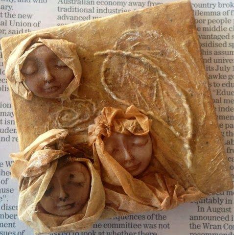". Tea bag art ""Russian Caravan""  .... tea bags, polymer clay and embroidery on canvas Empress Wu Designs: Tea on Thursday 2"