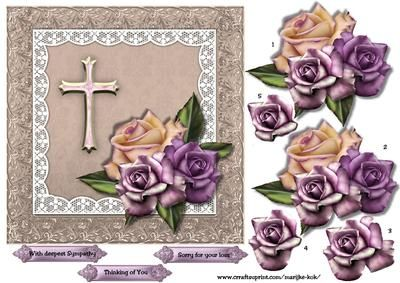 Sympathy 3 on Craftsuprint designed by Marijke Kok - Beautiful sympathy card with roses and lace. - Now available for download!