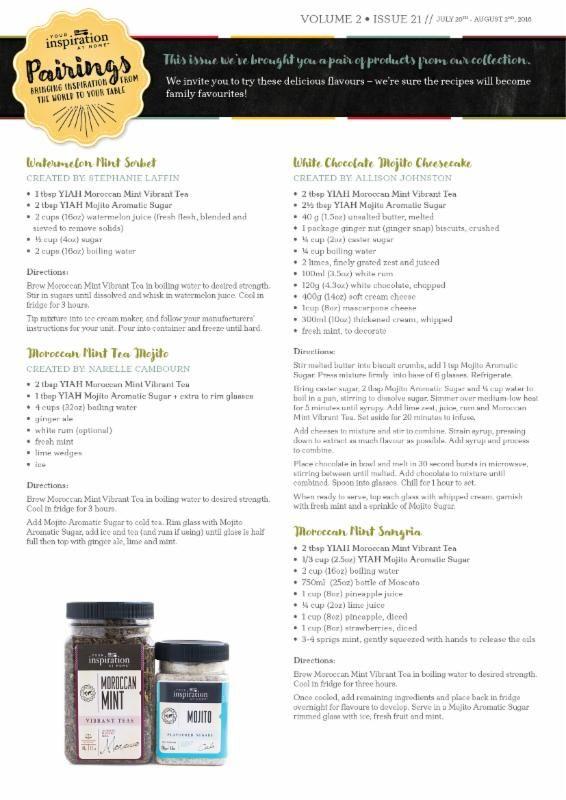 Yummy recipes for YIAH pairings!!