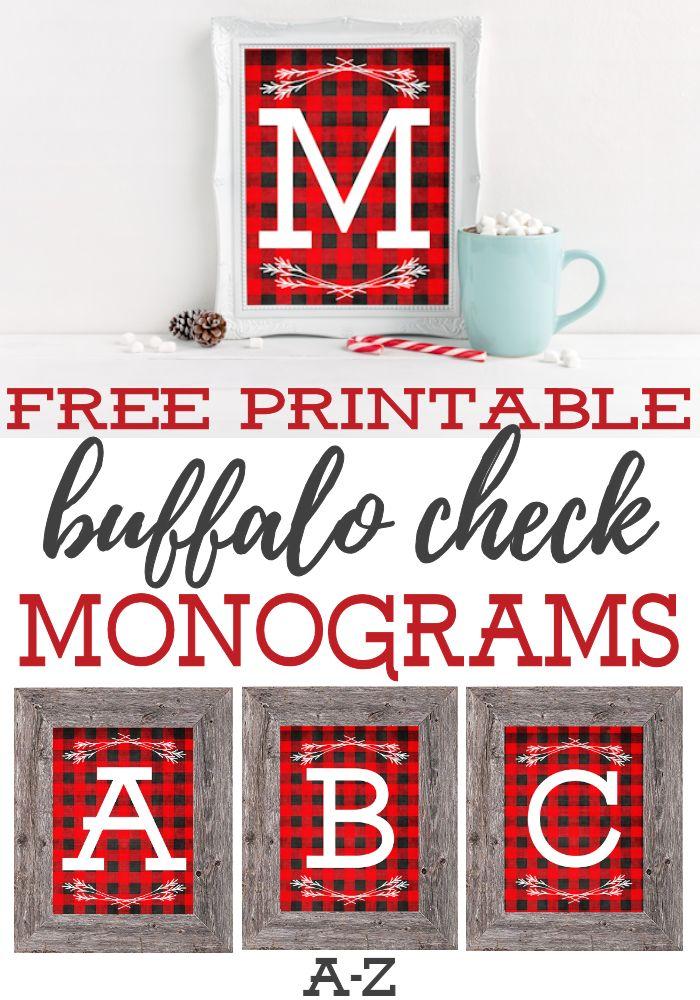 Free Printable Buffalo Check Monograms   Printable Christmas Decor   Woodland Lumberjack Nursery Ideas