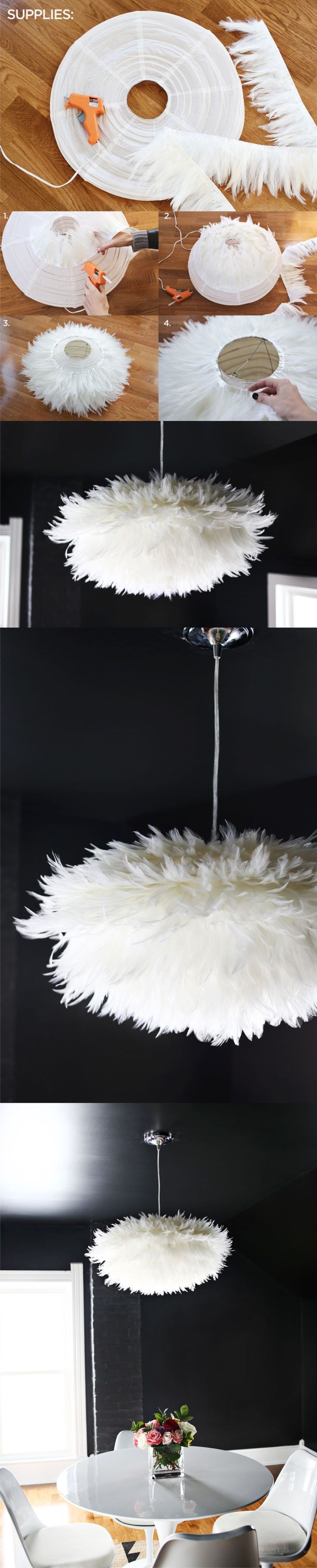What a fun looking lamp DIY made from a paper lantern & feathers. See all…