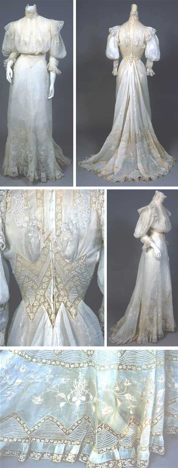 #Embroidered handkerchief linen dress, ca. 1900. Embroidery on bodice overlaps lace insertion in some places. High collar with stays on both sides. Large puffy sleeves above embroidered, ruffled cuff. Waistline comprises a series of diamond-shaped panels of lace