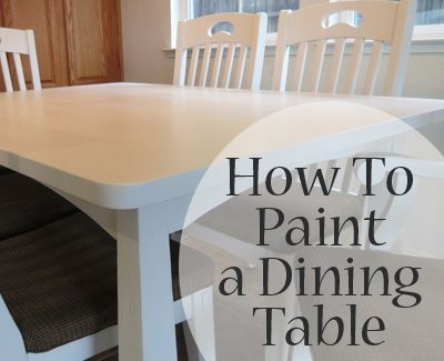 Always use a non aersol can polycylic topcoat on suface of dining table.  Cans can be used on non wear parts - not the top though. Great site for painting furniture.