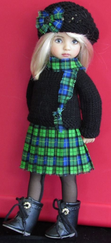 Handmade Sweater and skirt set made for Effner little darling dolls