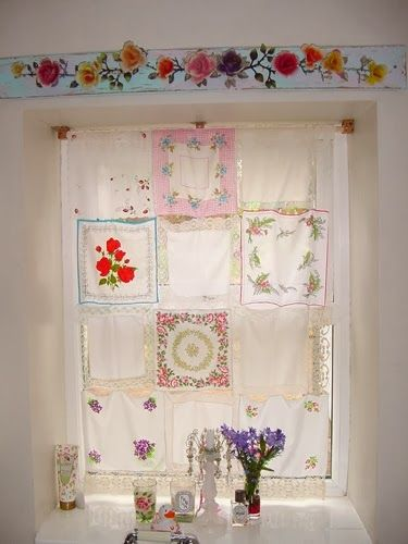 Vintage hankies sewed into a pretty kitchen curtain.