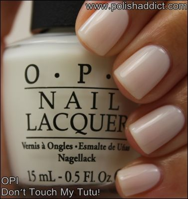 "OPI Color...""don't touch my tutu."" A great tan really shows this color off. Kembrel has tons of fashion ideas. Go see kids:) Such a soft white."