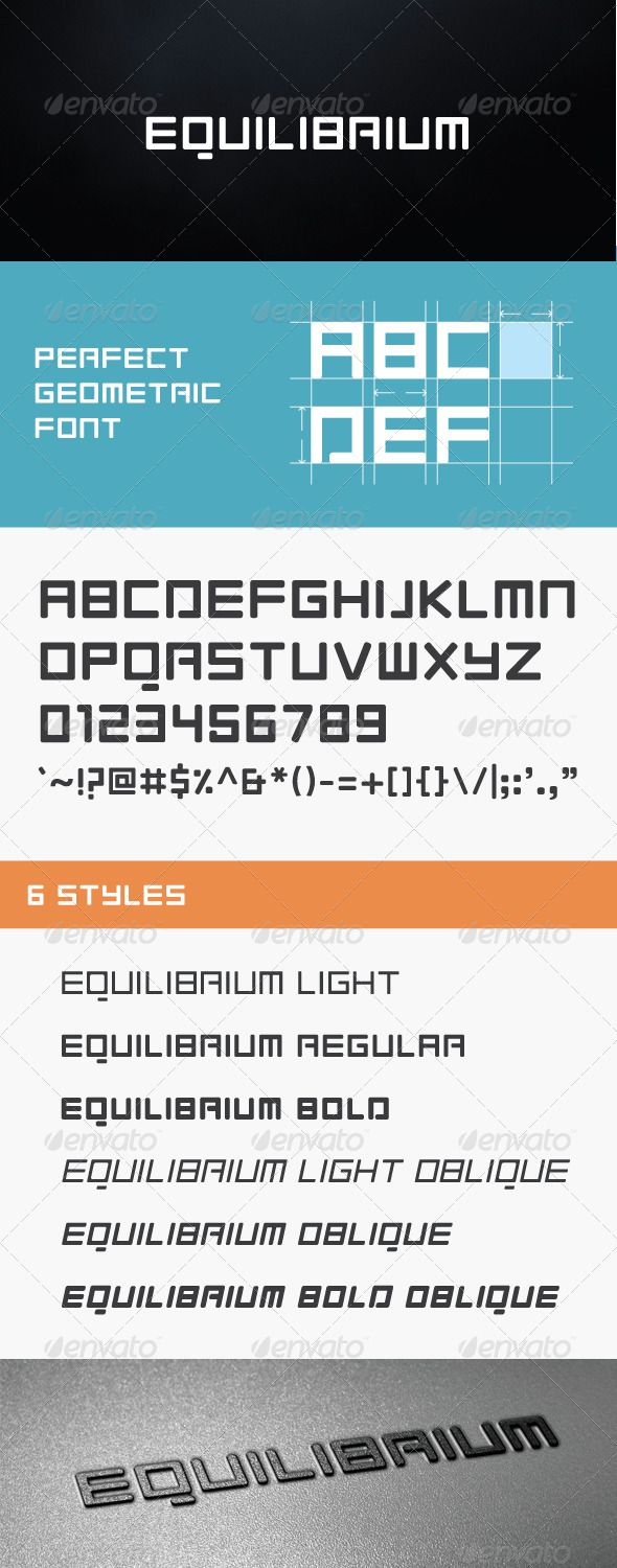 Equilibrium Font  #GraphicRiver         Equilibrium is perfect geometric font, with clean and modern style.