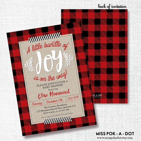 BUFFALO PLAID baby shower or sprinkle invitation by misspokadot