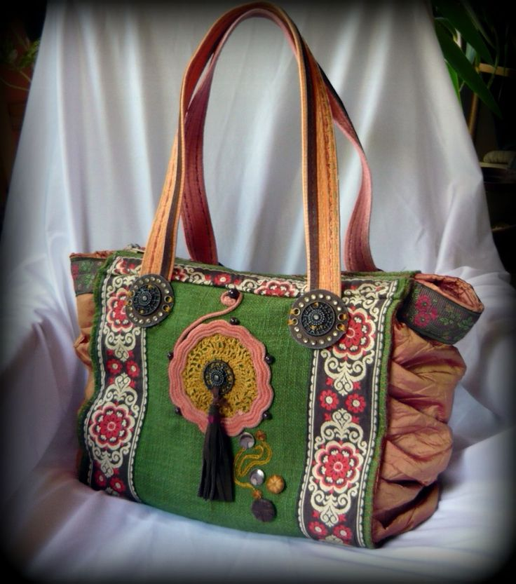 Handmade by Judy Majoros - Embroidered crochet fringe ruffles bag. Tote bag-shoulder bag.Recycled bag