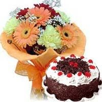 Seasonal Flowers bouquet with 1 Lb Black Forest cake