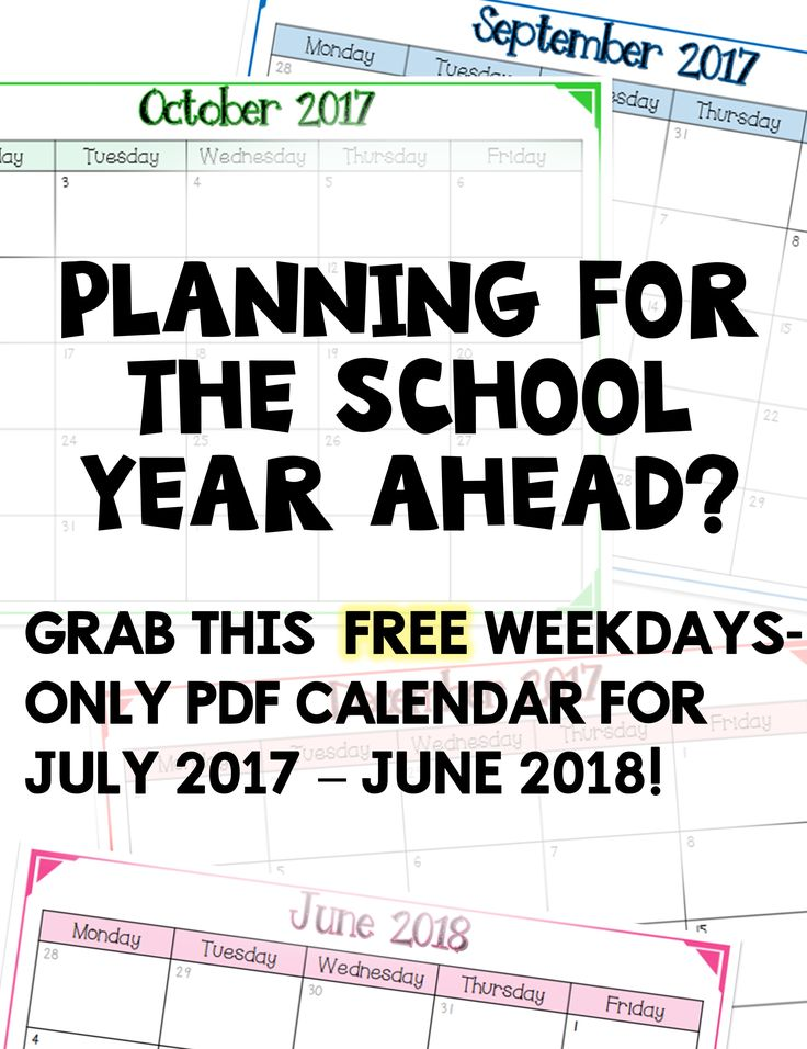 FREE weekdays only pdf calendar for the 2017-2018 school year (July 17 - June 18)!  Great teacher/classroom organization tool!