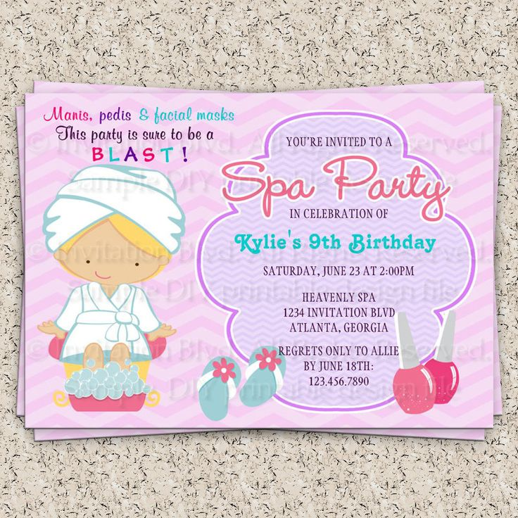 138 best images about Spa at Home – Kids Spa Party Invitations