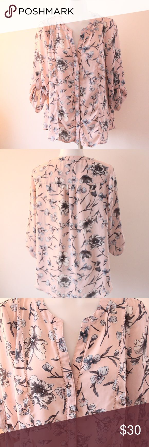 Small Daniel rainn Pink Floral Long Sleeve Top Small Daniel rainn Pink floral Long Sleeve Top - In like new condition! This gorgeous top is a nice flowy top that is sheer like (100% Polyester). Beautiful silver ball like buttons. V-neck style.  Bust from underarm to underarm is 19.5 Inches. Daniel Rainn Tops Blouses