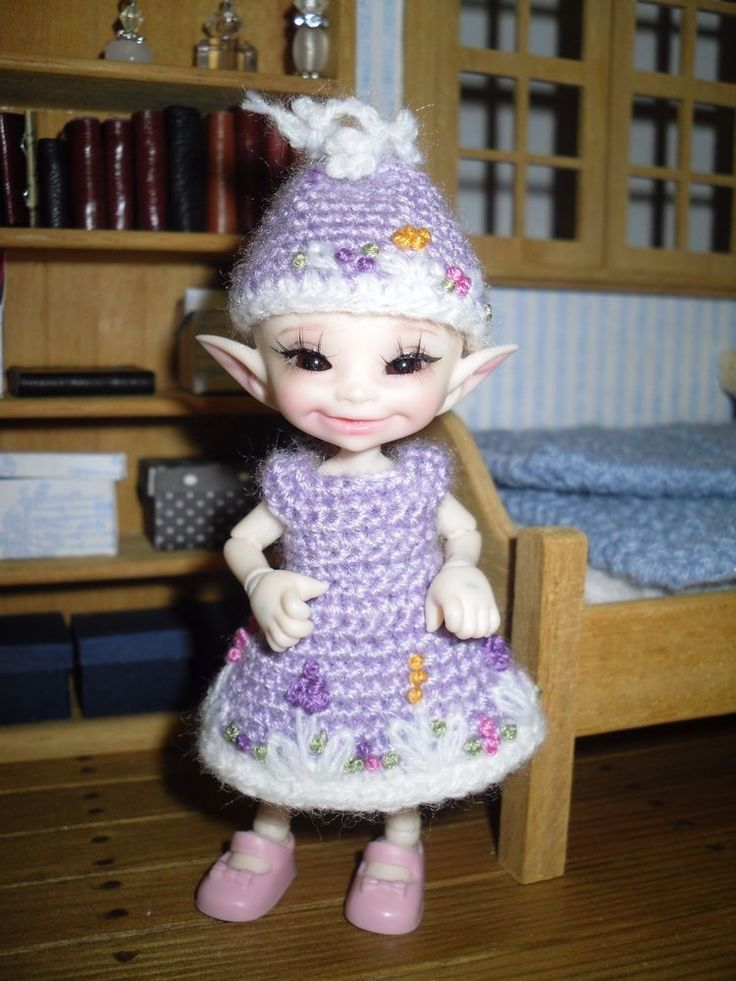 Crochet and embroidered dress and hat for Realpuki doll #Unbranded