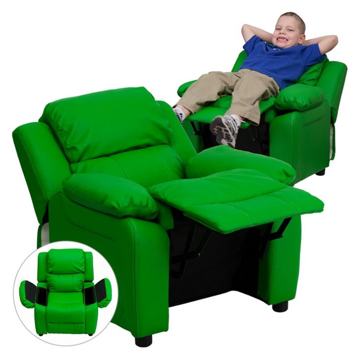 Flash Furniture Deluxe Heavily Padded Vinyl Kids Recliner with Storage Arms - Green - BT-7985-KID-GRN-GG