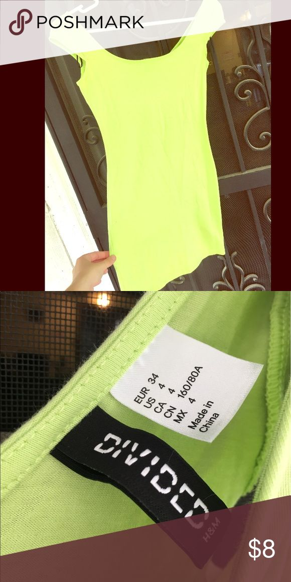 Neon green mini bodycon dress XS H&M dress too short for me , I'm 5'6 it goes way above my knees. Super cute and comfy. Vibrant. Size 4 but H&M runs small H&M Dresses Mini
