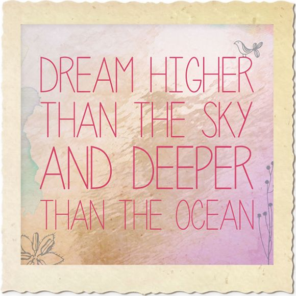 "Our inspirational quote of the week... ""Dream higher than the sky and deeper than the ocean"" #quote #landnsand www.landnsand.co.za"