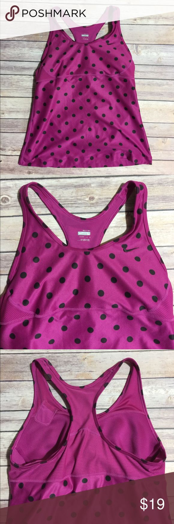 Nike Polka Dot Razor tank EUC with sports bra cup insides ... great for every workout Nike Tops Tank Tops