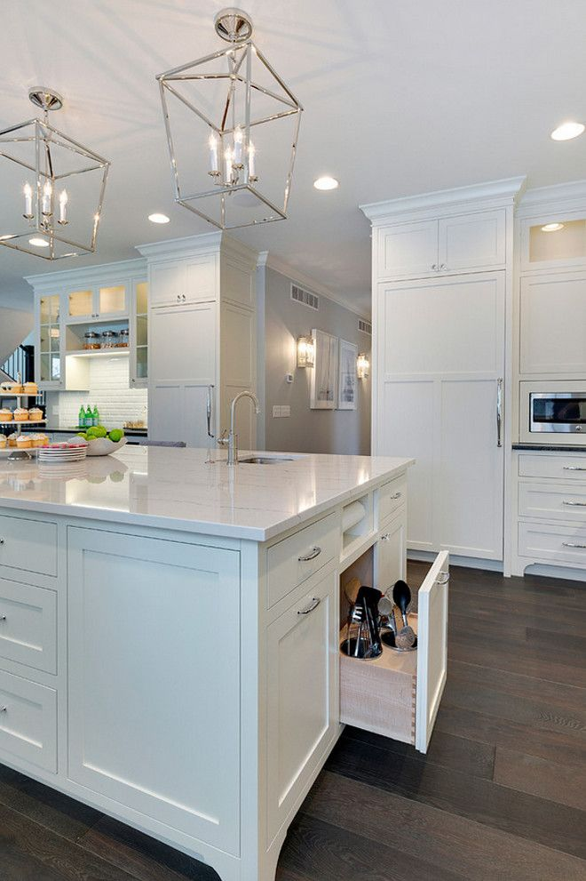 This kitchen island has many inspiring space saver ideas! I love the paper towel holder and the cooking utensil drawer.