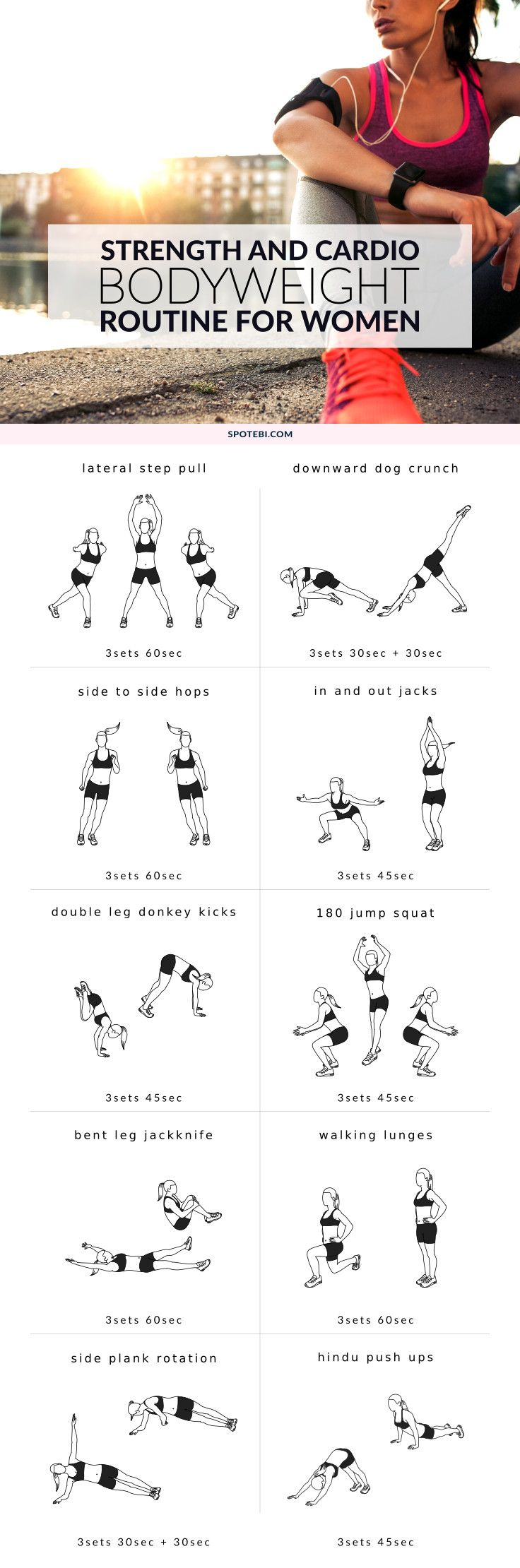 Strengthen your whole body, reduce stress and boost your calorie burn at home with this strength and cardio bodyweight routine for women. If you're bored with your workouts, or just want to mix things up, this no-equipment circuit is the perfect choice! https://www.spotebi.com/workout-routines/strength-cardio-bodyweight-routine/