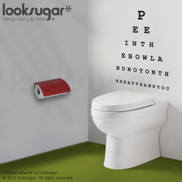 too funny     eye chart decal pee in the bowl please wall