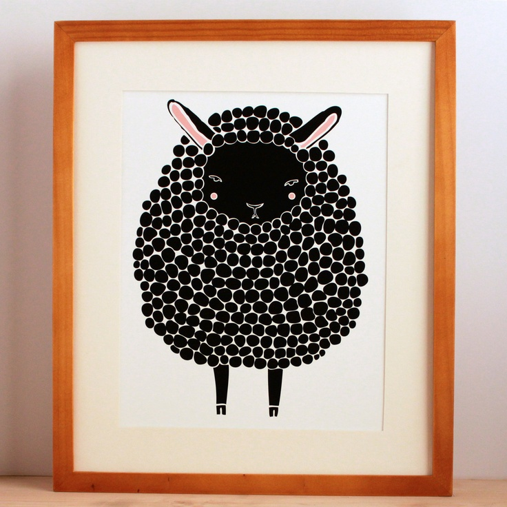 Black Sheep print by Stacie Bloomfield. I love it! For the little black sheep of the family.