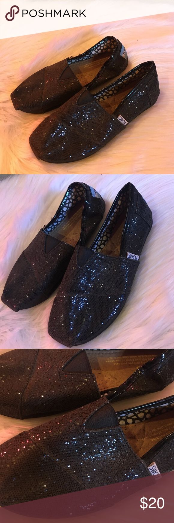 Black glitz toms size 6 Black glitter toms size 6 some wear see pictures...check my other listings for bundle deals TOMS Shoes Flats & Loafers