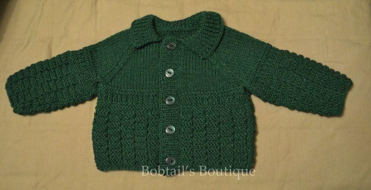 Green hand knitted cardigan 0-3 months £8 www.bobtailsboutique.net