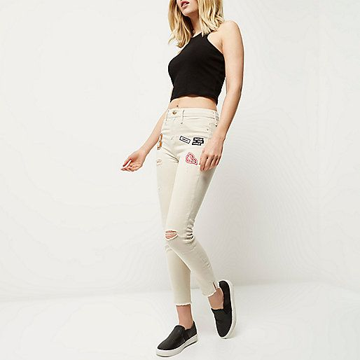 Ecru denim Badge appliqué  Skinny fit High waisted Button and zip fly fastening Five pockets